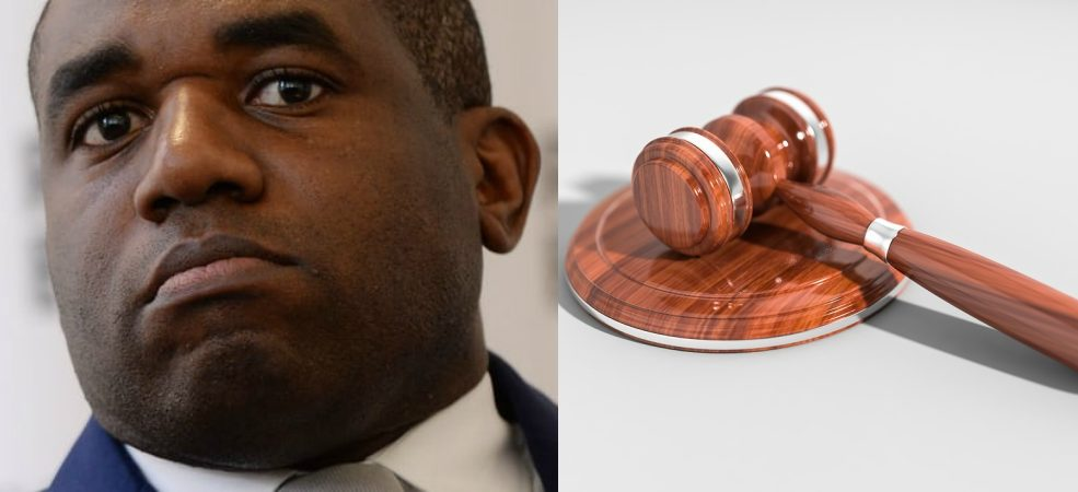 David Lammy and representational image of judge's mallet