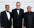 Publisher of the Asian Rich List Shailesh Solanki with Rt Hon Michael Gove MP and billionaire SP Lohia at the Asian Business Aw