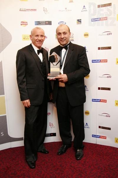 Surinder Arora (Community Business in Sport Award) with Peter Reid-