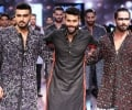 Showstoppers Shahid Kapoor and Arjun Kapoor with Designer Kunal Rawal