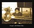 At age 4, with Baba\'s sitar
