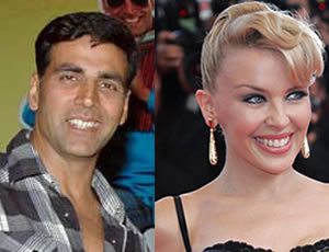 Akshay Kumar and Kylie Minogue both in 'Blue'