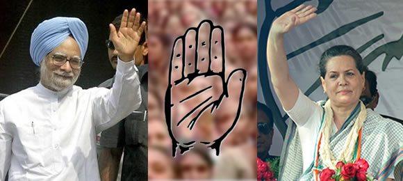 Manmohan Singh and Sonia Gandhi of INC