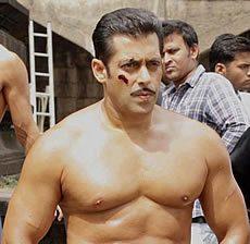 Salman Khan on the set of Dabangg 2