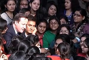 David Cameron with Aamir Khan and the girl mob