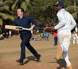 David Cameron plays cricket in India