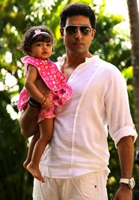 Proud dad with Aaradhya Bachchan
