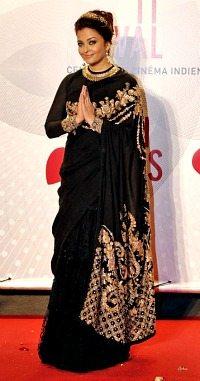 Aishwarya black sari