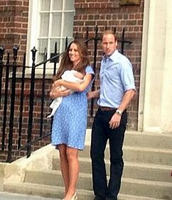 William and Kate with baby prince outside hospital