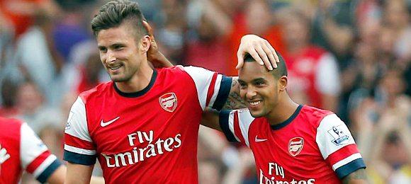 Arsenal vs Tottenham Hotspur Olivier Giroud and Theo Walcott