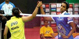IBL Final Hyderabad Hotshots Saina Nehwal and pv Sindhu