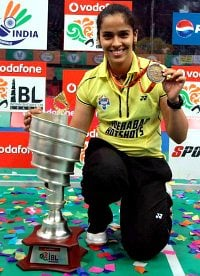 IBL Final Hyderabad Hotshots Saina Nehwal with medal
