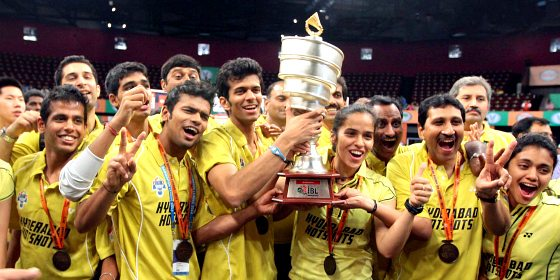 IBL Final Hyderabad Hotshots Saina Nehwal with team