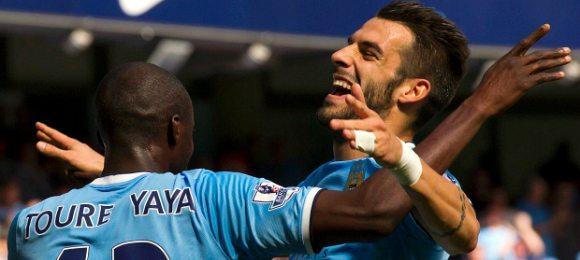 Manchester City vs Hull Alvaro Negredo and Yaya Toure