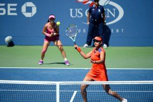 US Open Sania Mirza with Zheng jie