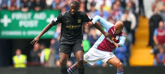 Premier League Aston Villa vs Manchester City Yaya Toure and Karim El Ahmadi