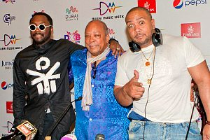 Quincy Jones with Will.i.am and Timbland at Dubai music week press launch