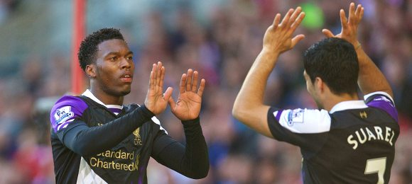 Sunderland vs Liverpool Daniel Sturridge with Luis Suarez