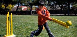 British Asian boy playing Cricket