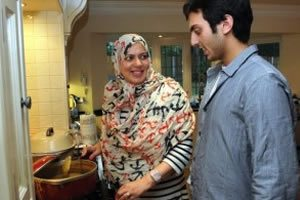 Parveen and son cooking