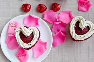 Heart Shaped Red Velvet Cupcakes