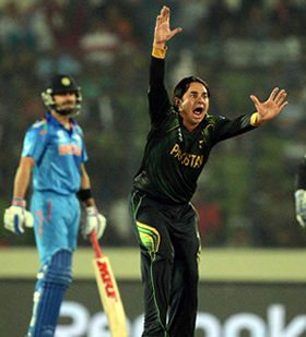 Saeed Ajmal unsuccessfully appeals for a leg before wicket decision