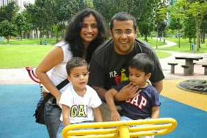Chetan and his wife and kids