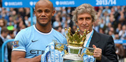 Manchester City win Premier League Football 2013/2014