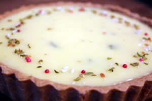 Pistachio Rose white chocolate tart