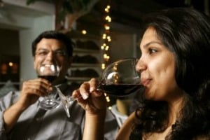 Indian couple drinking