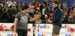 Bollywood Stars play Tennis with Roger Federer