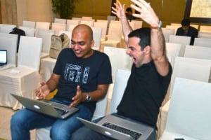 Manu Kumar Jain, Xiaomi's India head, and Hugo Barra, Xiaomi International's vice president.