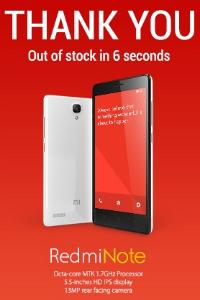 Redmi Note sold in six seconds.