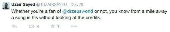 Zeus Fan Tweet
