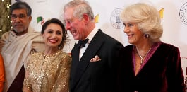 British Asian celebrities and Bollywood stars enjoyed a glamorous charity dinner with Prince Charles