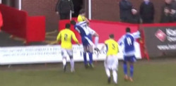 Red card for Shabir Khan after body-slam