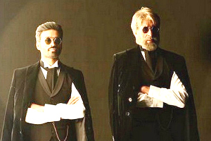 Shamitabh on set Dhanush Amitabh Bachchan