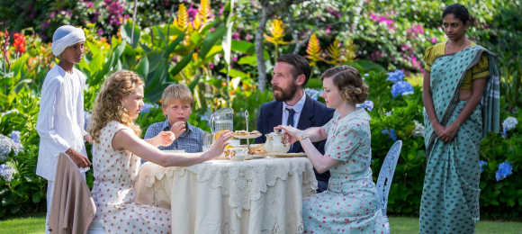 Around Table L-R; Alice (Jemima West), Matthew (Julian Fenby), Dougie (Craig Parkinson) and Sarah (Fiona Glascott)
