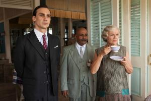 l-r: Ralph (Henry Lloyd Hughes) Kaiser (Indi Nadarajah) and Cynthia (Julie Walters)