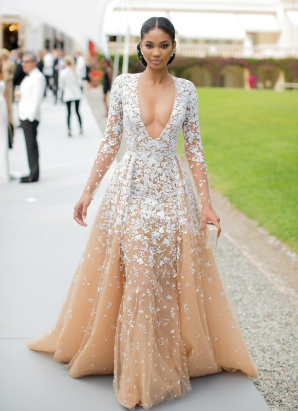 Chanel Iman stunned with a nude tulle Zuhair Murad Couture gown.