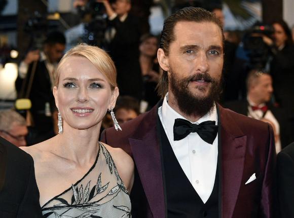 Matthew McConaughey in a burgundy Dolce & Gabbana suit.