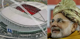 Plans are reportedly in place to greet Modi in an Olympic-style invite-only event at the iconic Wembley Stadium in London.