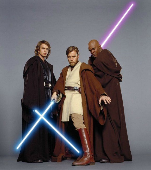 Samuel L. Jackson playing the role of Jedi Master Mace Windu in the 1999 prequel, The Phantom Menace.