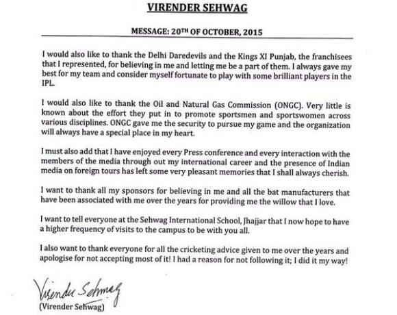 Virender Sehwag retires from Cricket