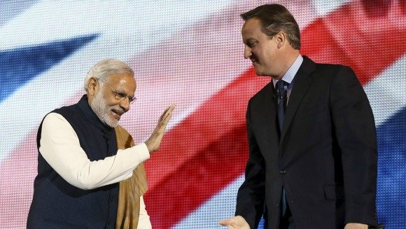 India's Prime Minister, Narendra Modi, is greeted with an extraordinary reception at Wembley Stadium on November 13, 2015.
