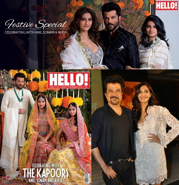 Father Anil Kapoor looks handsome in a white and black bandhgala.