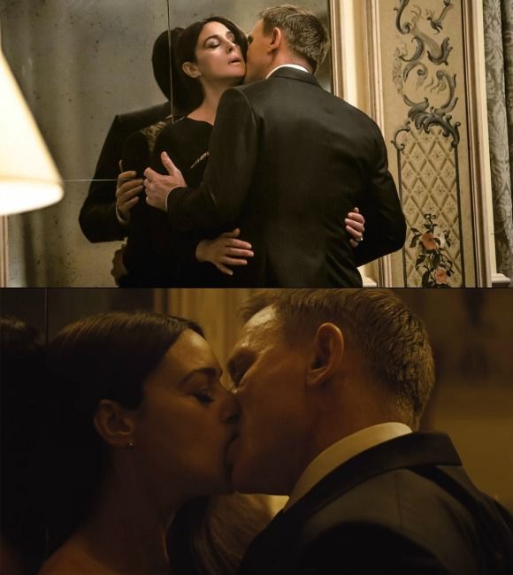 Craig's kissing scenes with Monica Bellucci and Léa Seydoux