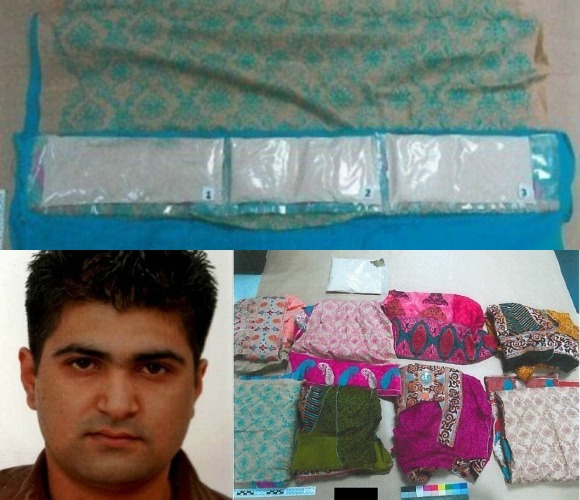 A British Pakistani man has been jailed for eight years for using his wife to smuggle 3.5kg of heroin into the UK.