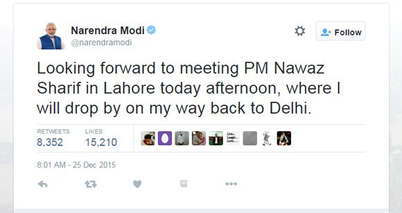Modi Tweet for Sharif  Surprise visit to Pakistan