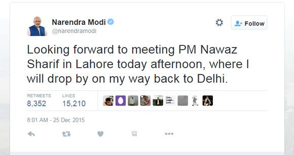 Modi Tweet for Sharif  Surprise visit to Pakistan